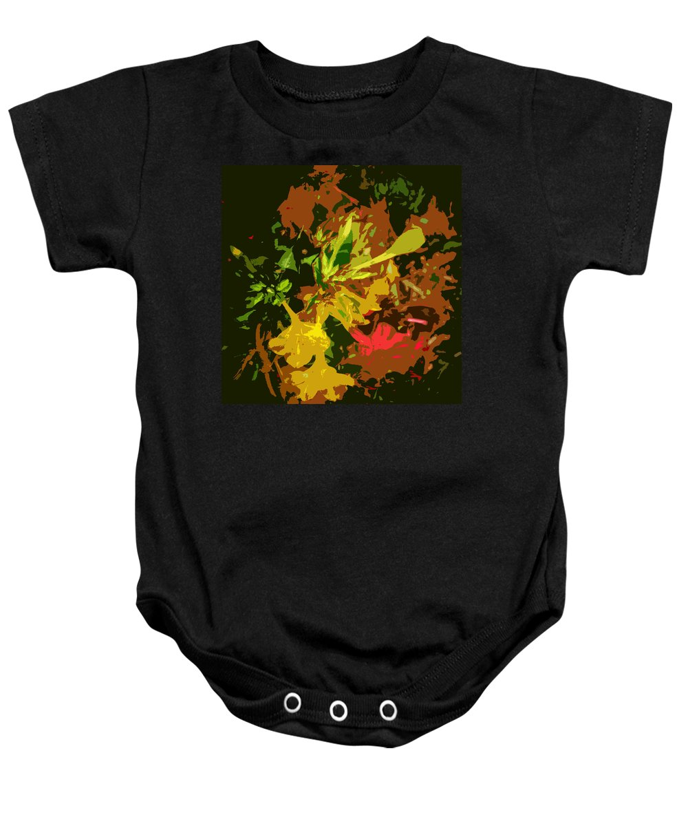 Abstract Baby Onesie featuring the photograph Red And Yellow Flowers Abstract by Lenore Senior