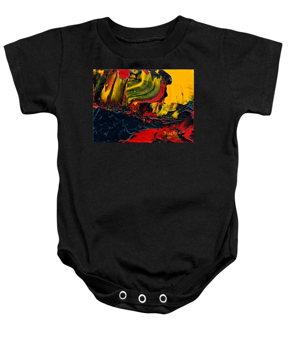 Bold Abstract Baby Onesie featuring the painting Red Balloon In The Storm by Donna Blackhall