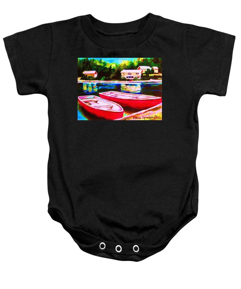 Red Boats Baby Onesie featuring the painting Red Boats At The Lake by Carole Spandau