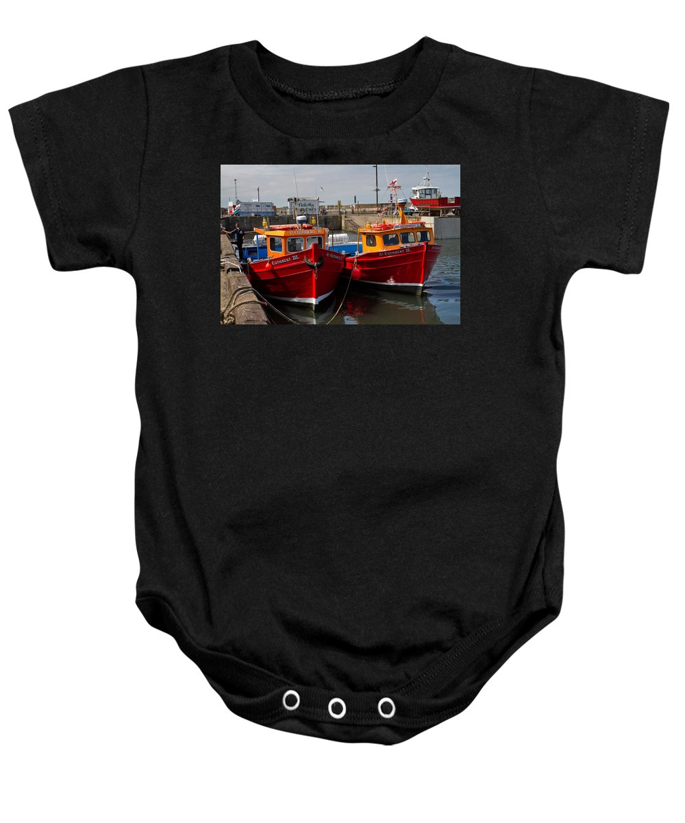 Travel Baby Onesie featuring the photograph Red Boats by Louise Heusinkveld