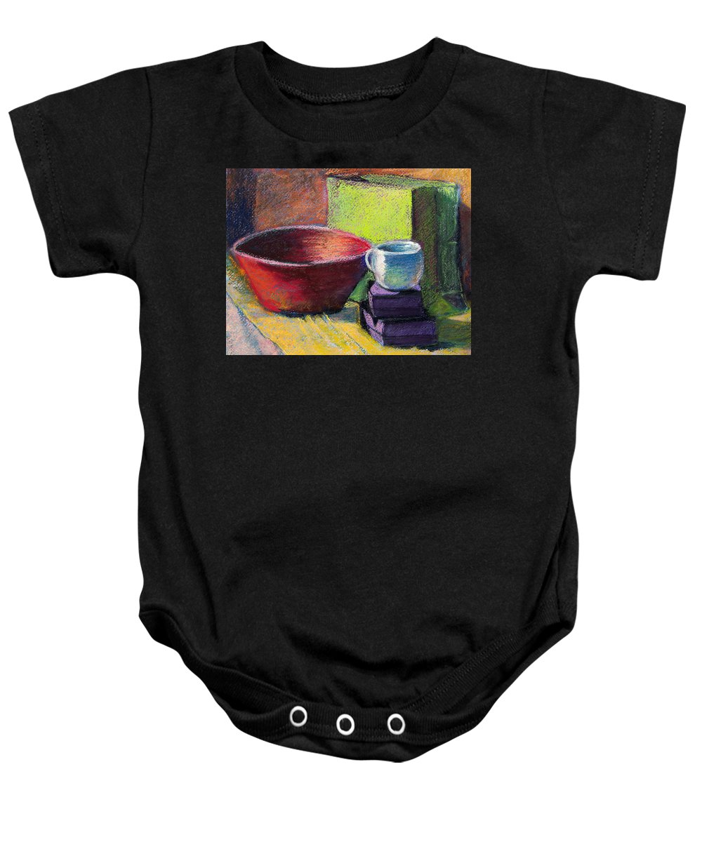 Bowl Baby Onesie featuring the painting Red Bowl by Laurie Paci