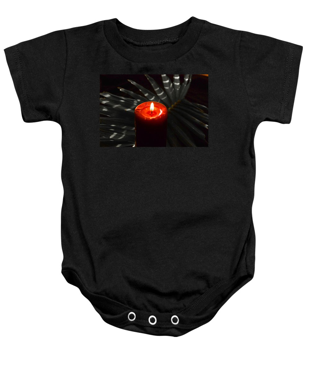 Red Candle Baby Onesie featuring the photograph Red Candle by Susanne Van Hulst