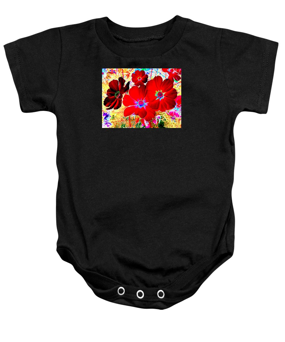Red Cosmos Baby Onesie featuring the digital art Red Cosmos by Will Borden