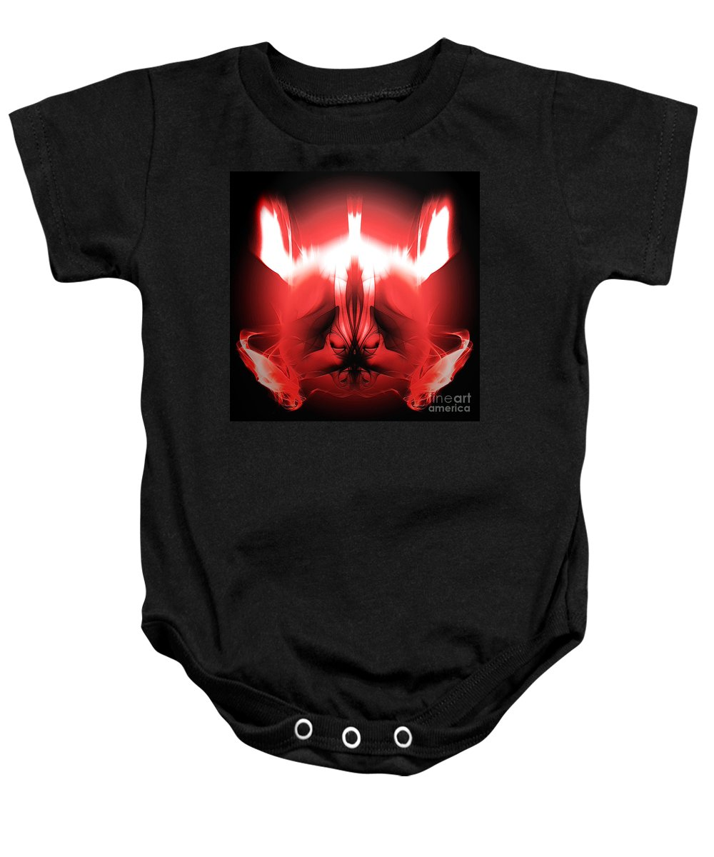 Clay Baby Onesie featuring the digital art Red Descent by Clayton Bruster
