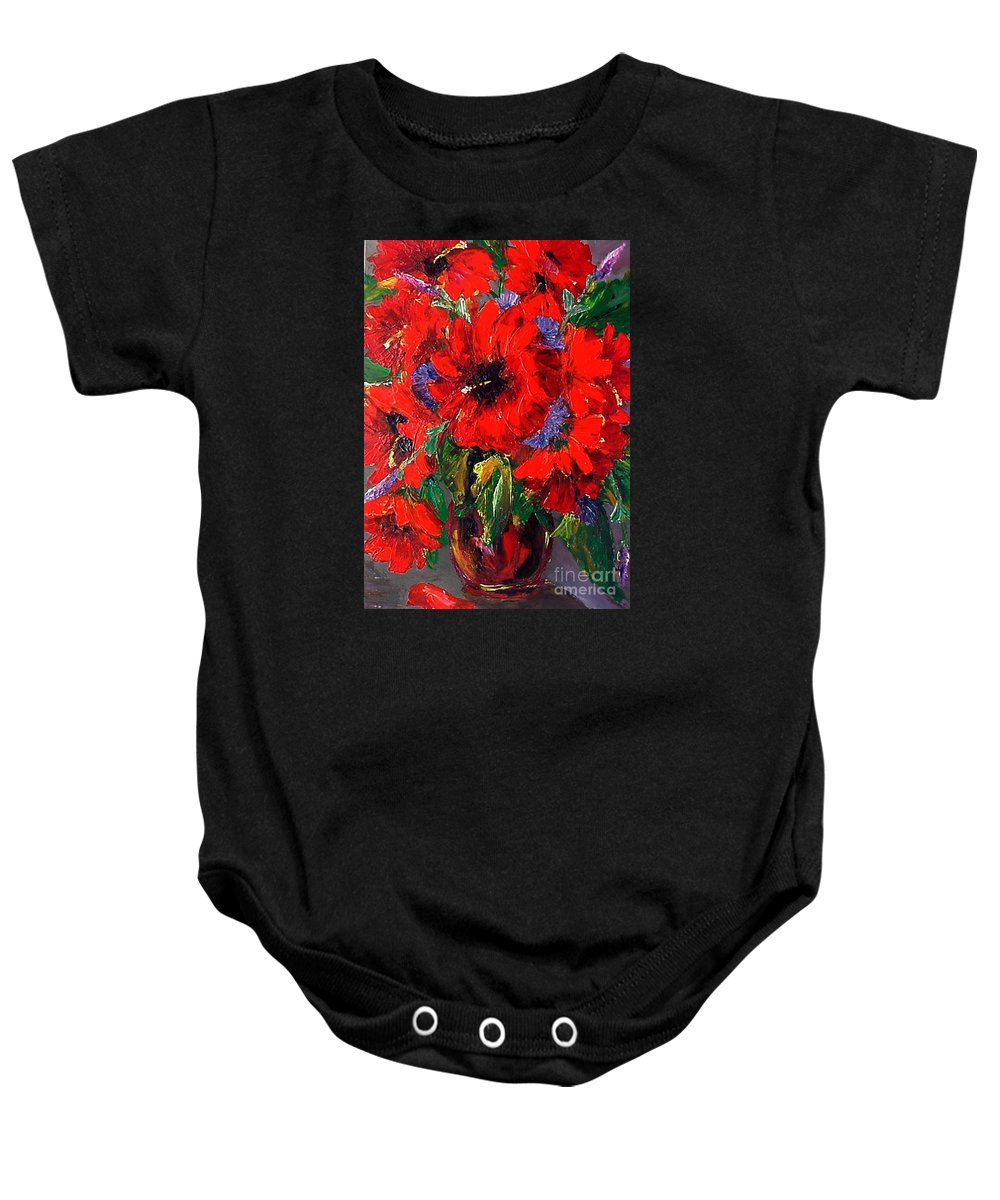 Red Baby Onesie featuring the painting Red Floral by Beverly Boulet