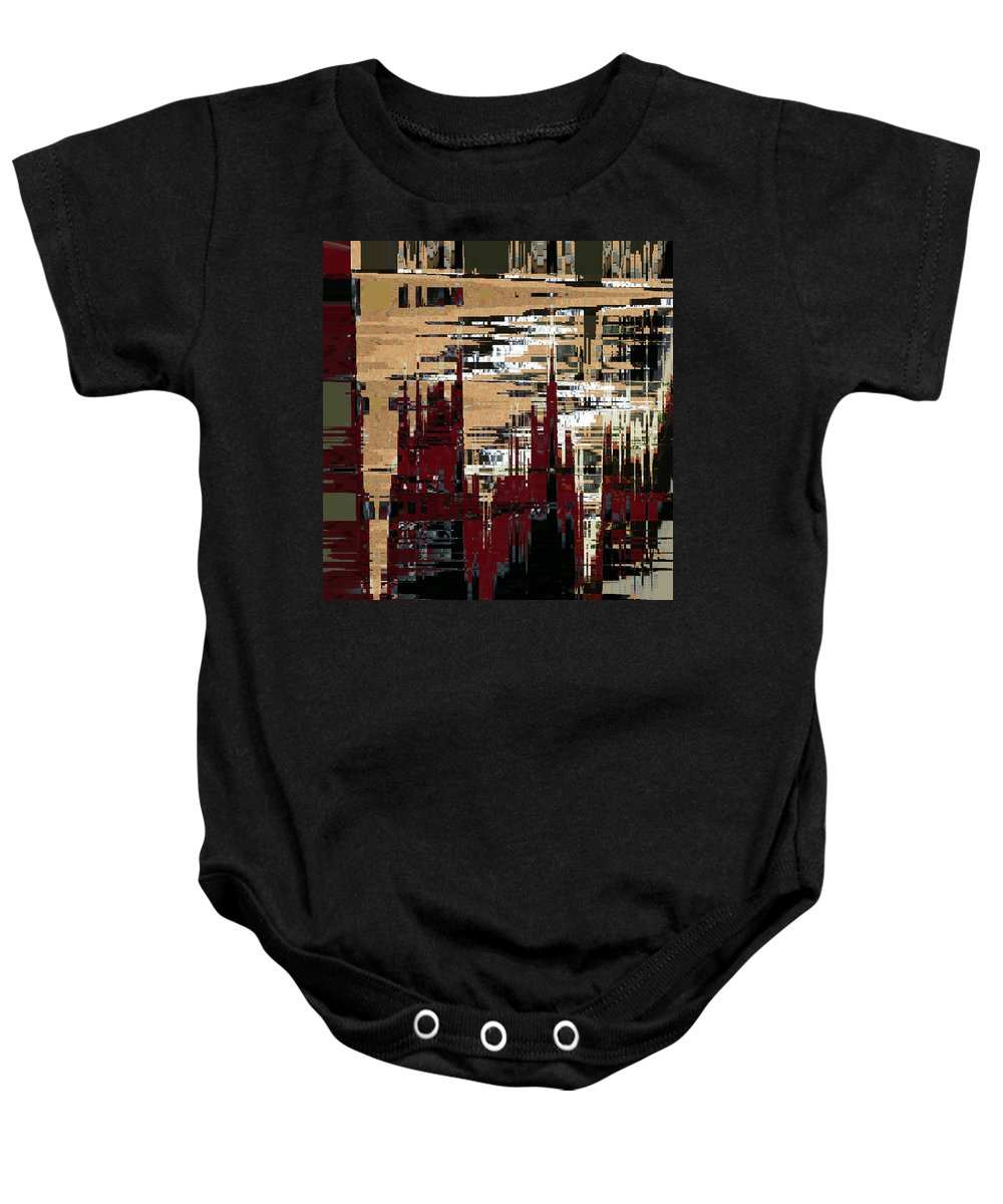 Abstract Baby Onesie featuring the digital art Red Forest Abstract by Lenore Senior
