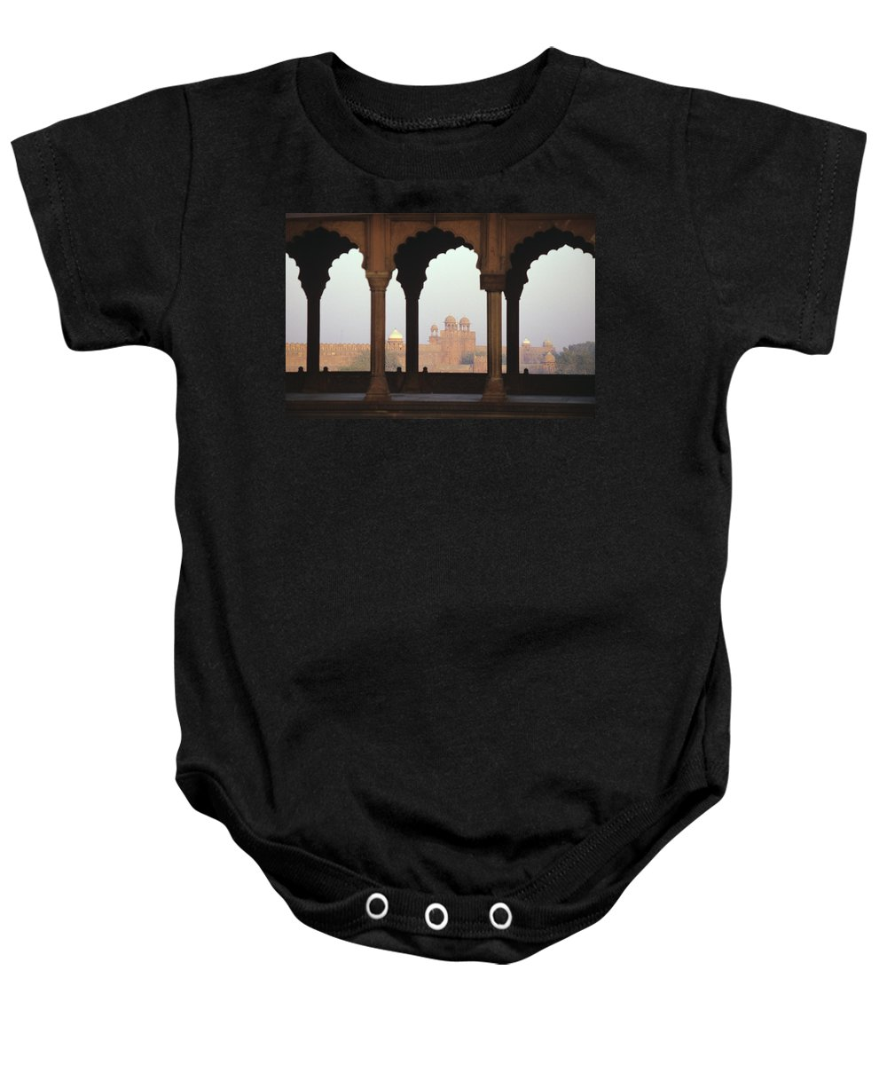 Agra Baby Onesie featuring the photograph Red Fort From The Jama Masjid by Gloria and Richard Maschmeyer - Printscapes