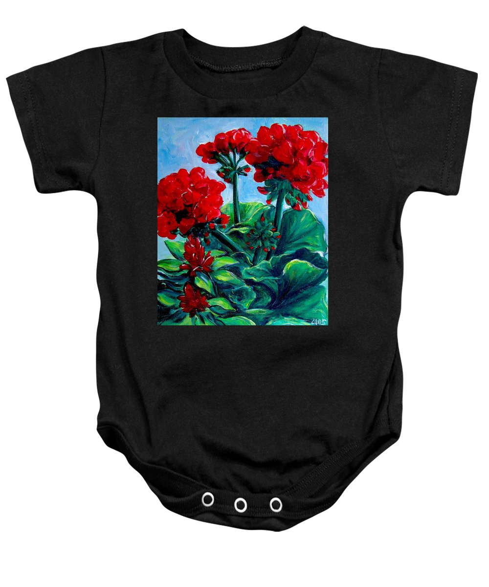 Floral Baby Onesie featuring the painting Red Geraniums by Jennifer Christenson