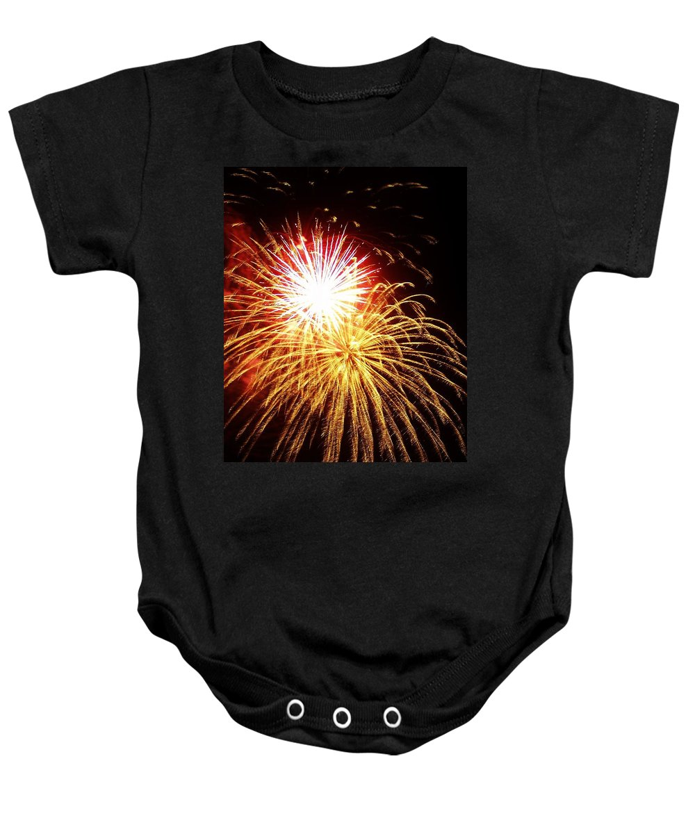 Fireworks Baby Onesie featuring the photograph Red Glare by Denise Irving