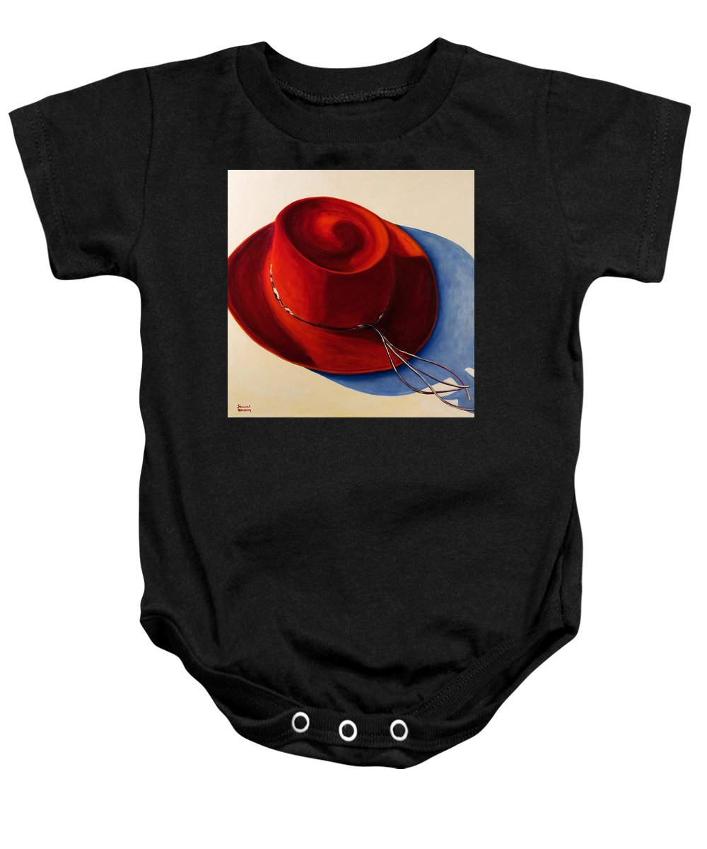Red Hat Baby Onesie featuring the painting Red Hat by Shannon Grissom