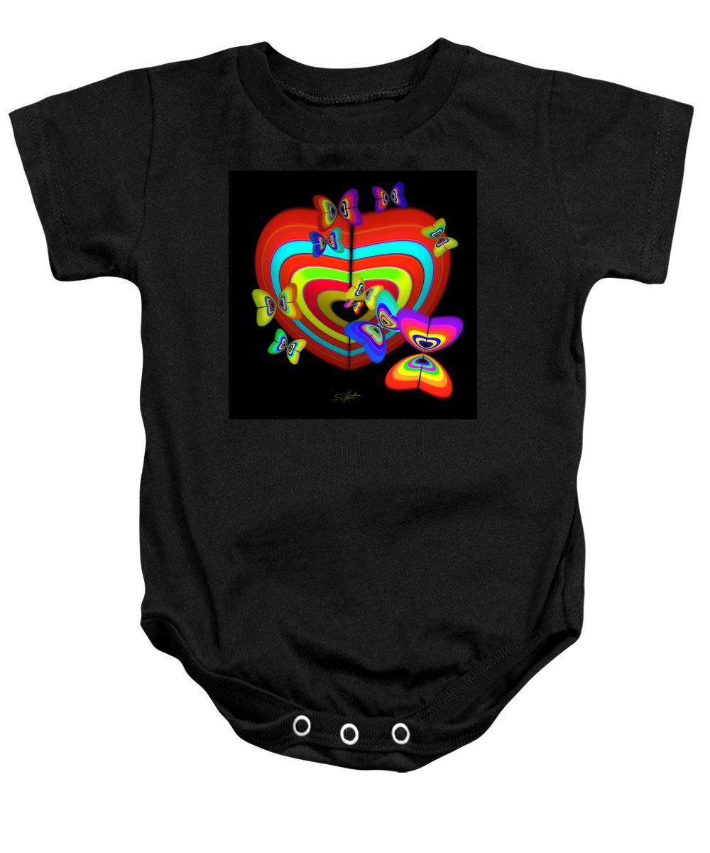 Baby Onesie featuring the painting Red Heart by Charles Stuart
