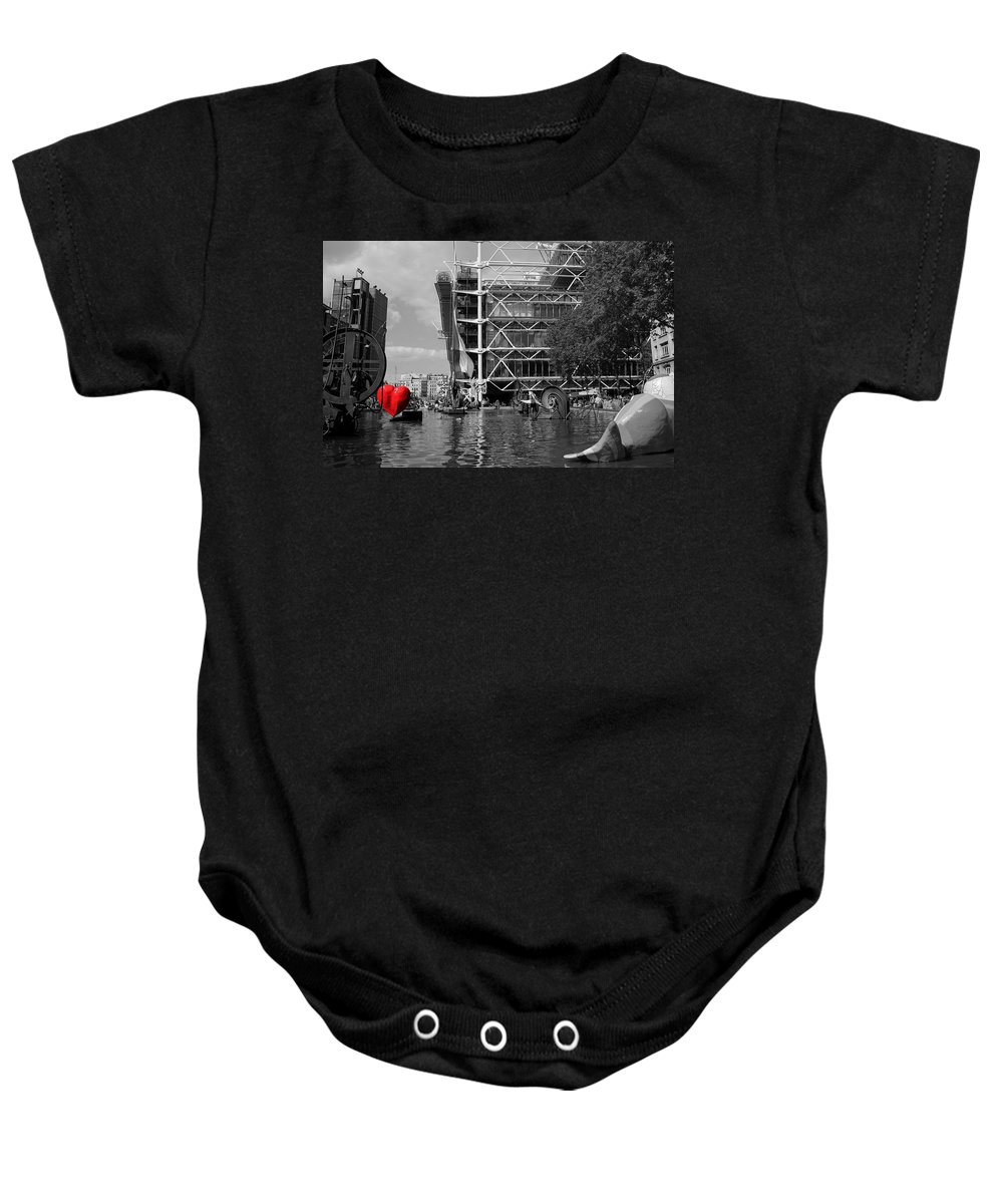 Paris Baby Onesie featuring the photograph Red Heart In Paris by Andrew Fare