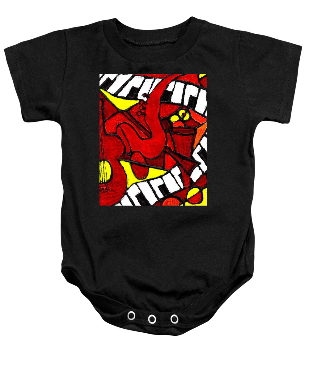 Jazz Baby Onesie featuring the painting Red Hot Jazz by Wayne Potrafka