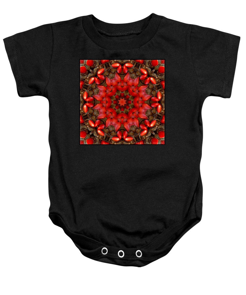 Kaleidoscope Baby Onesie featuring the digital art Red Kaleidoscope No. 1 by Lyle Hatch