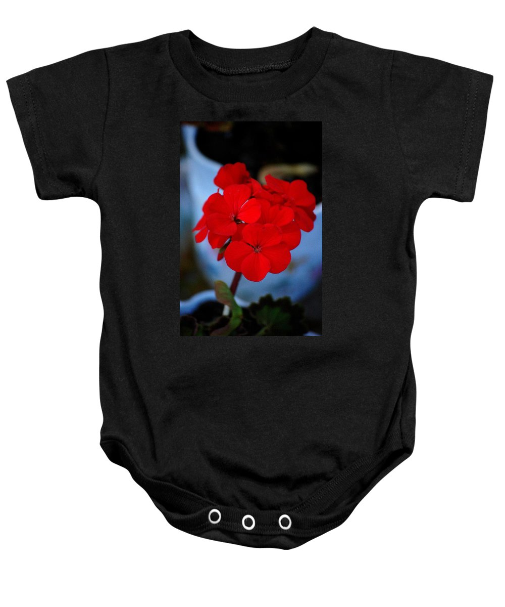 Baby Onesie featuring the photograph Red Menace by David Lane