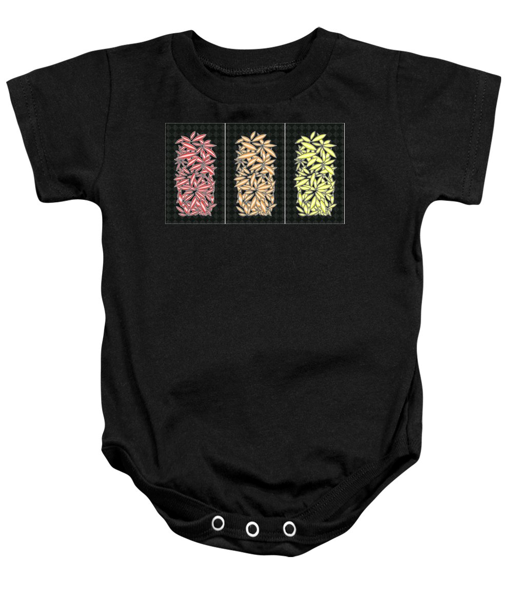 Abstract Baby Onesie featuring the digital art Red Orange And Yellow by Mark Sellers