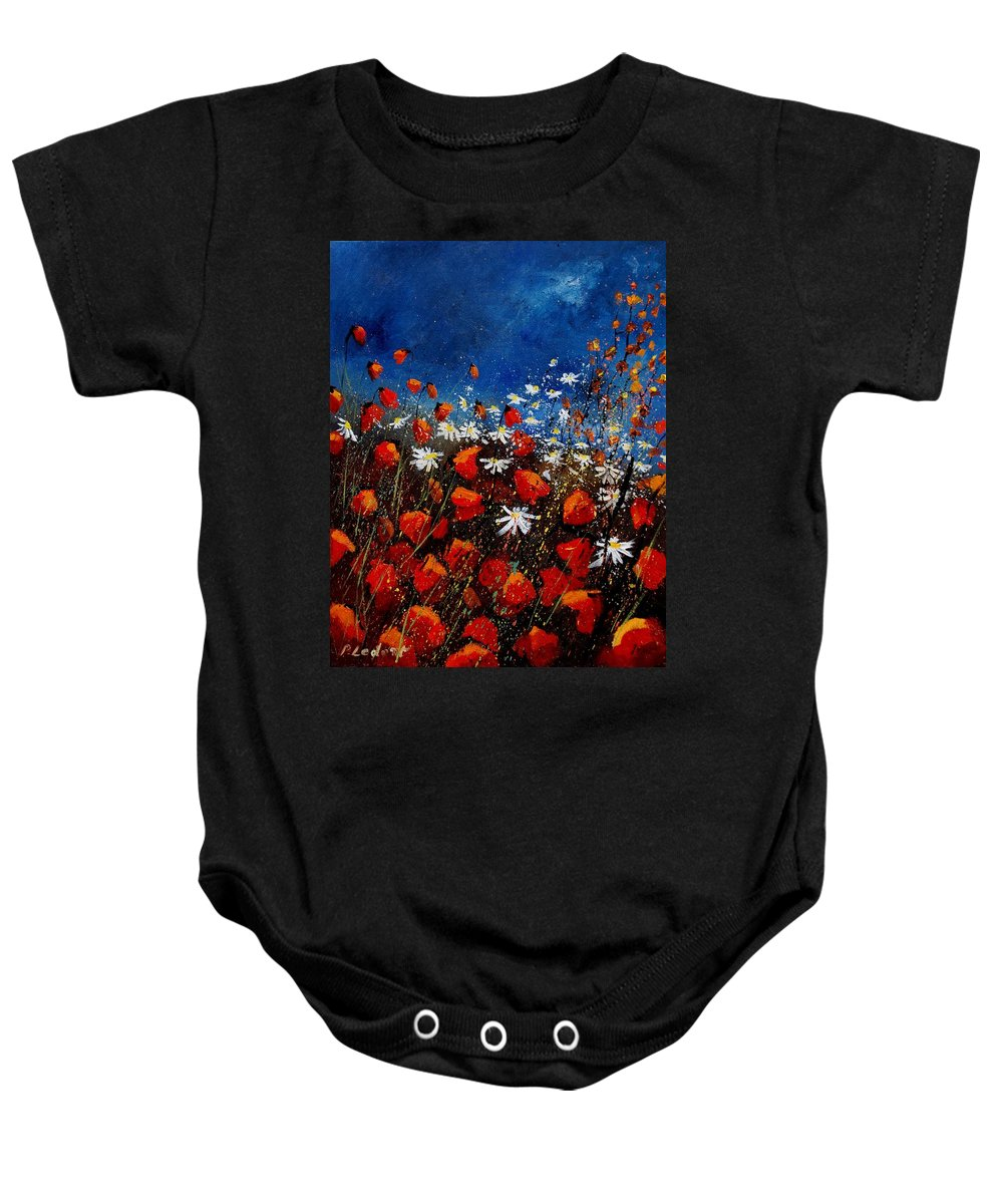 Flowers Baby Onesie featuring the painting Red Poppies 451108 by Pol Ledent