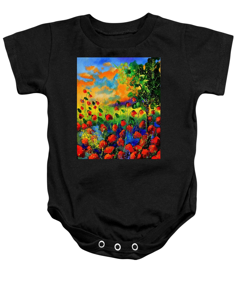Flowers Baby Onesie featuring the painting Red Poppies 45150 by Pol Ledent