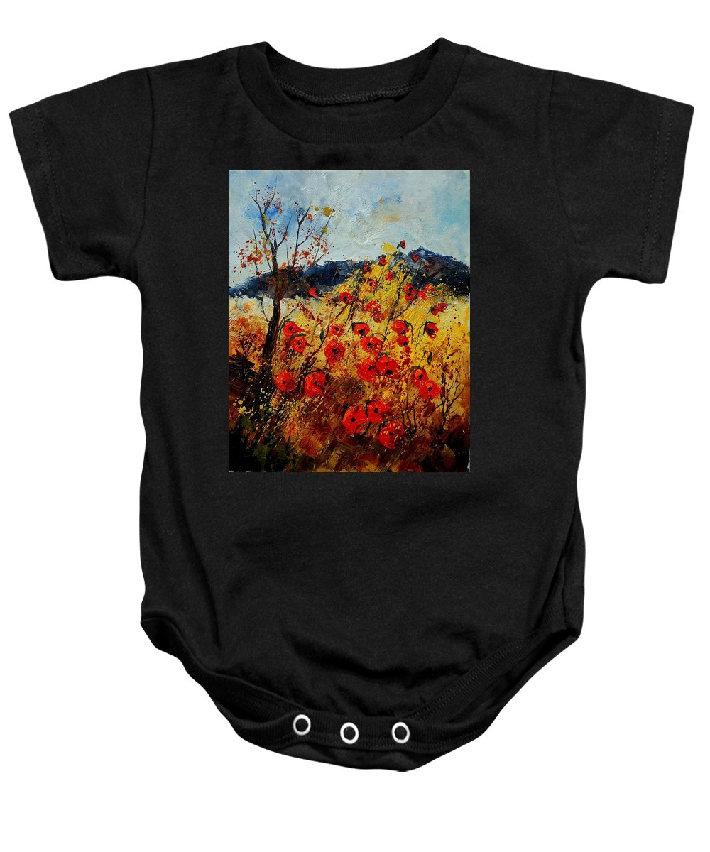 Poppies Baby Onesie featuring the painting Red Poppies In Provence by Pol Ledent