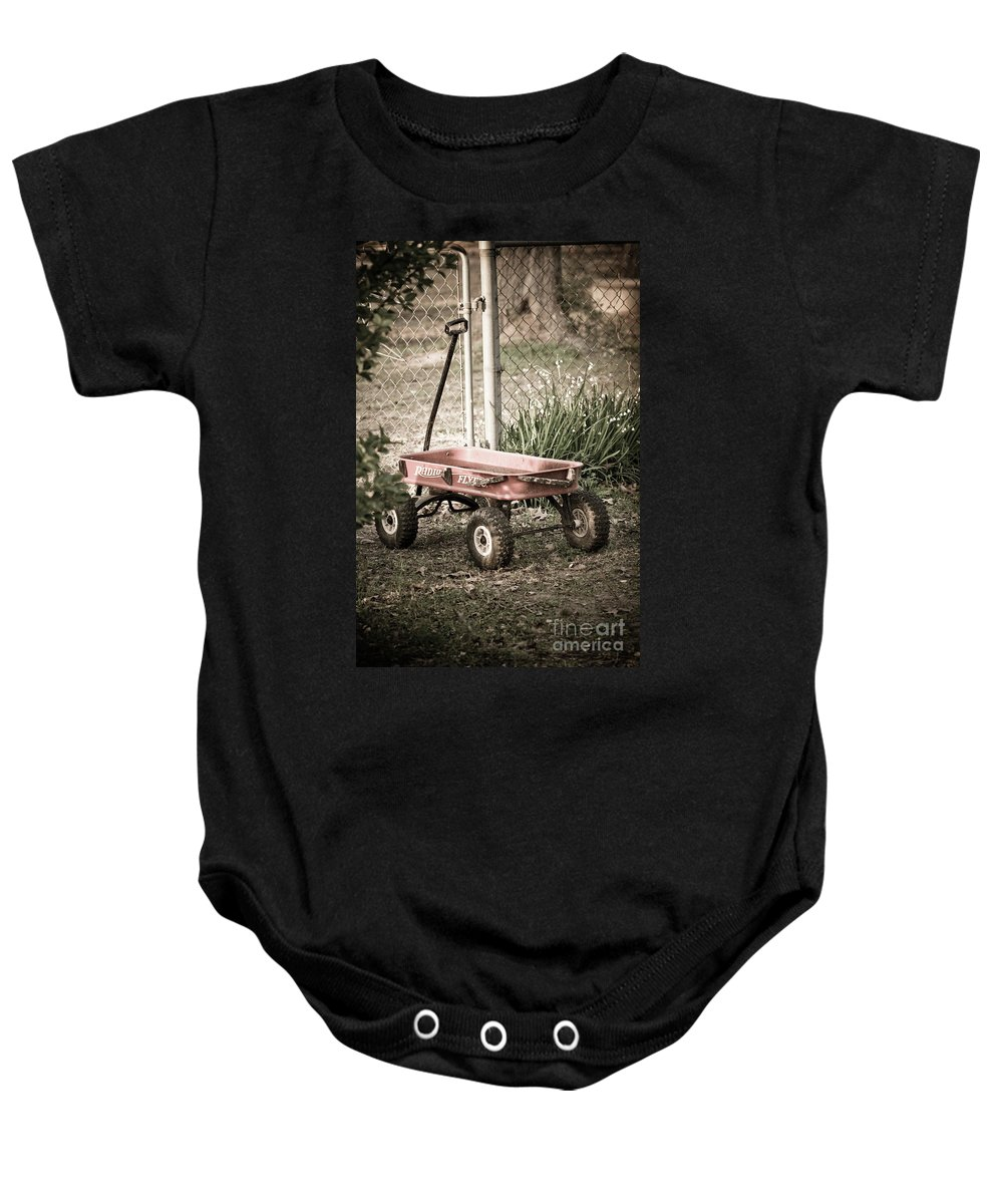 Childs Wagon Baby Onesie featuring the photograph Red Rider by Kim Henderson