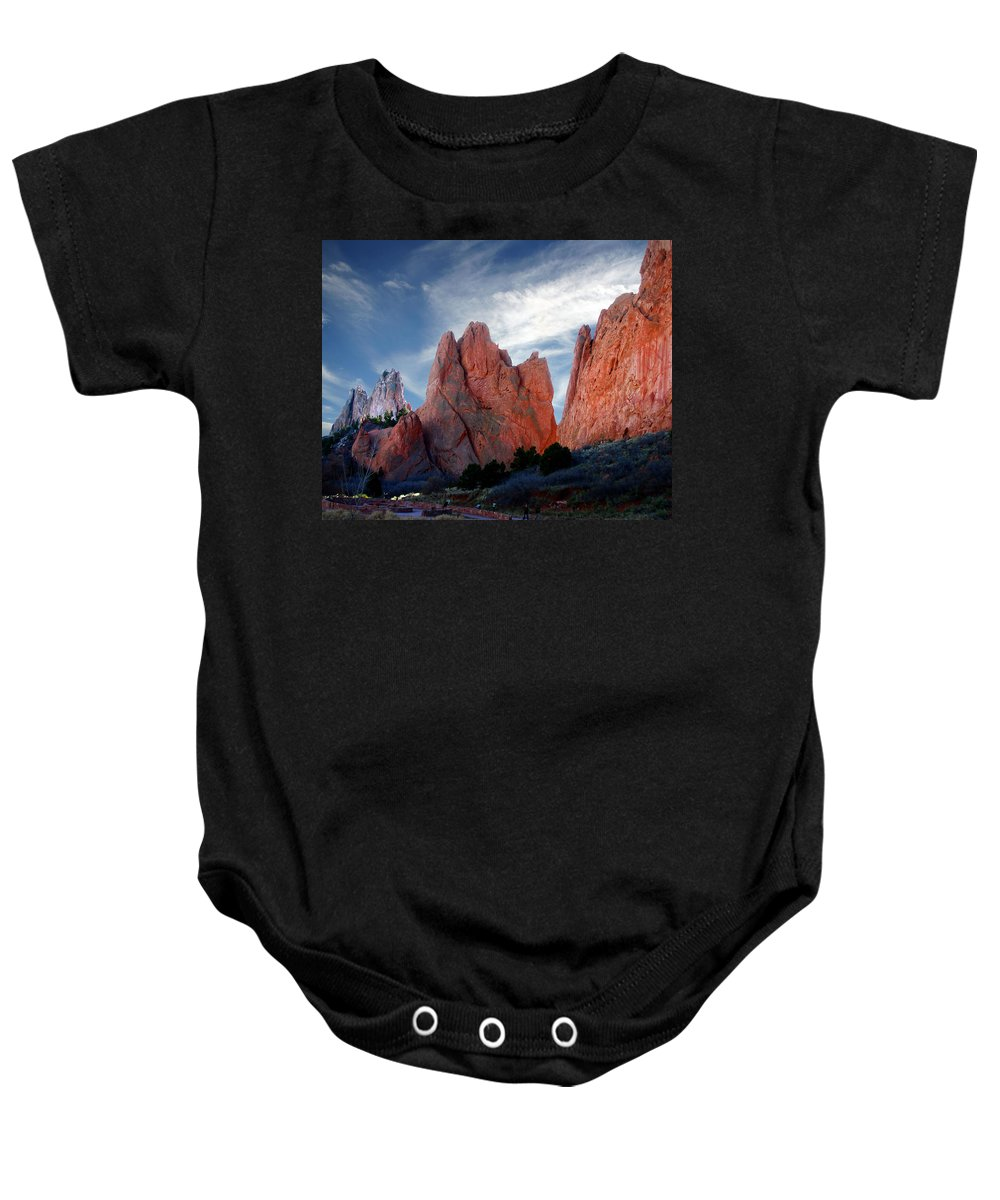 Garden Of The Gods Baby Onesie featuring the photograph Red Rock by Anthony Jones