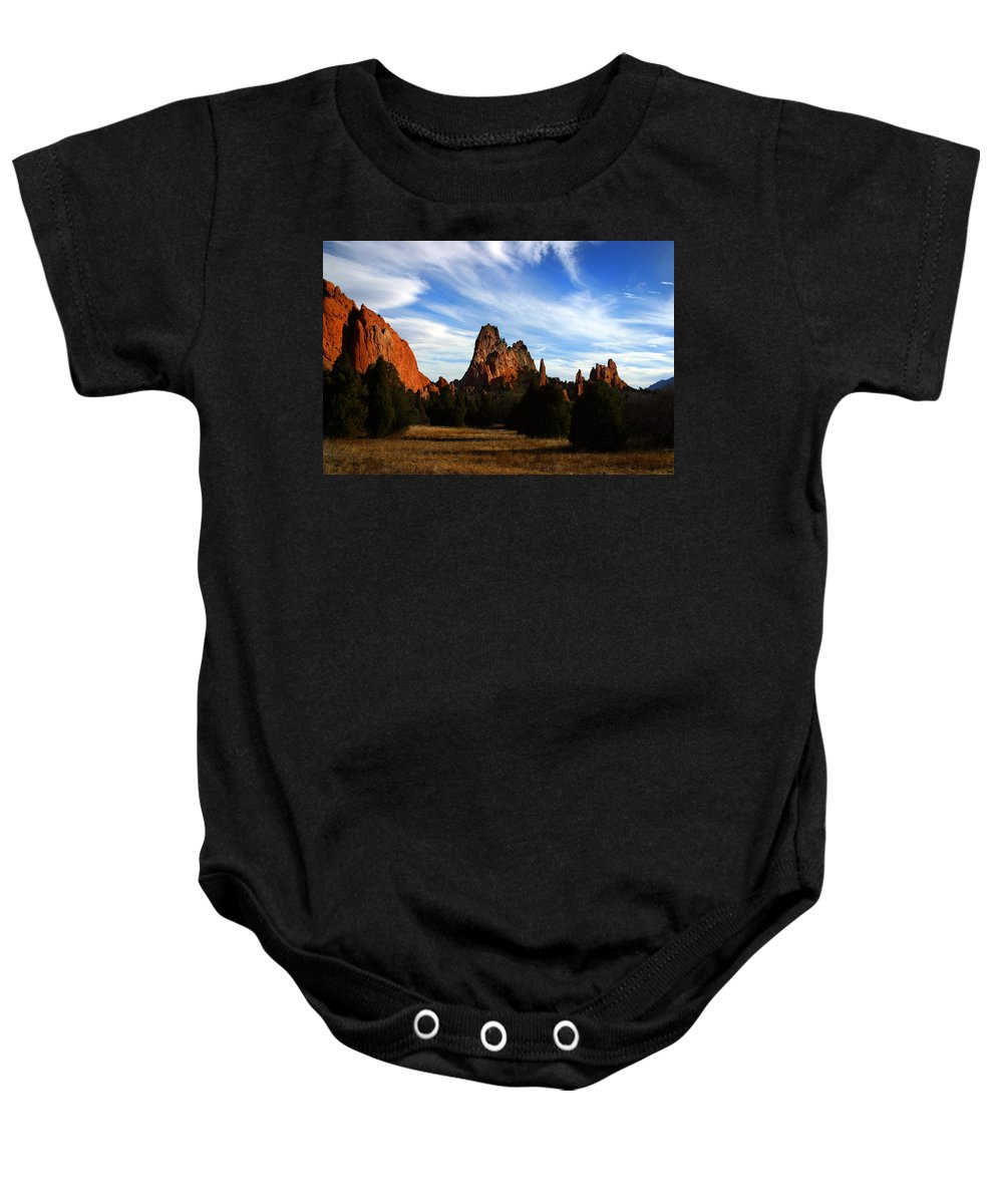 Garden Of The Gods Baby Onesie featuring the photograph Red Rock Formations by Anthony Jones