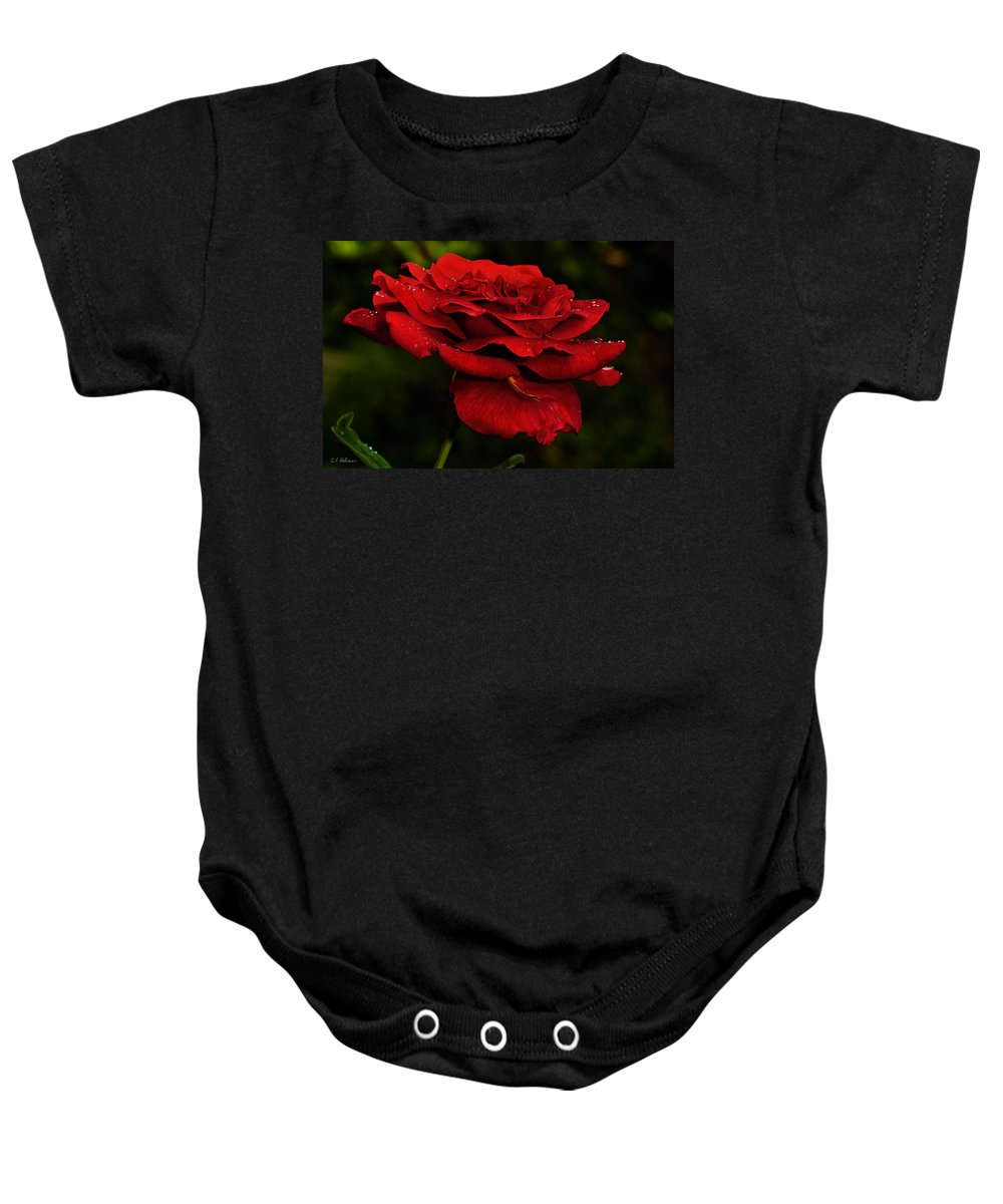 Rose Baby Onesie featuring the photograph Red Rose by Christopher Holmes