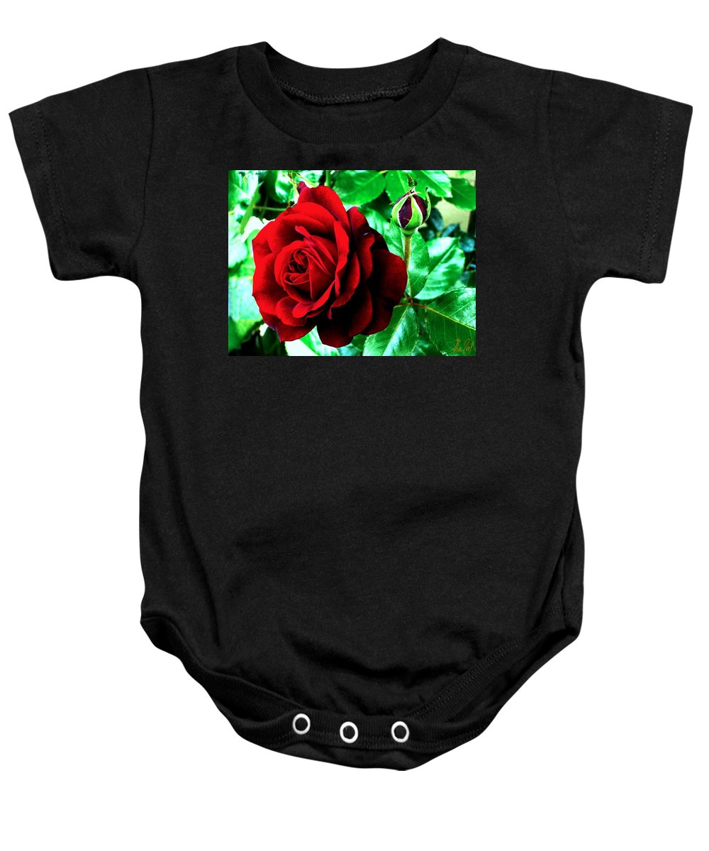 Baby Onesie featuring the photograph red Rose by Helmut Rottler