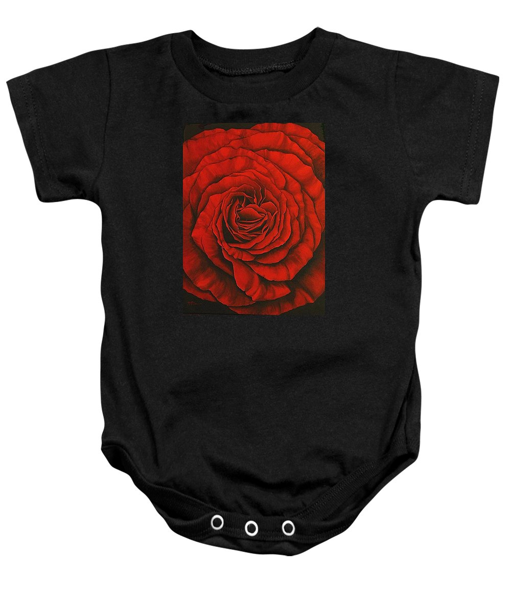 Red Baby Onesie featuring the painting Red Rose II by Rowena Finn