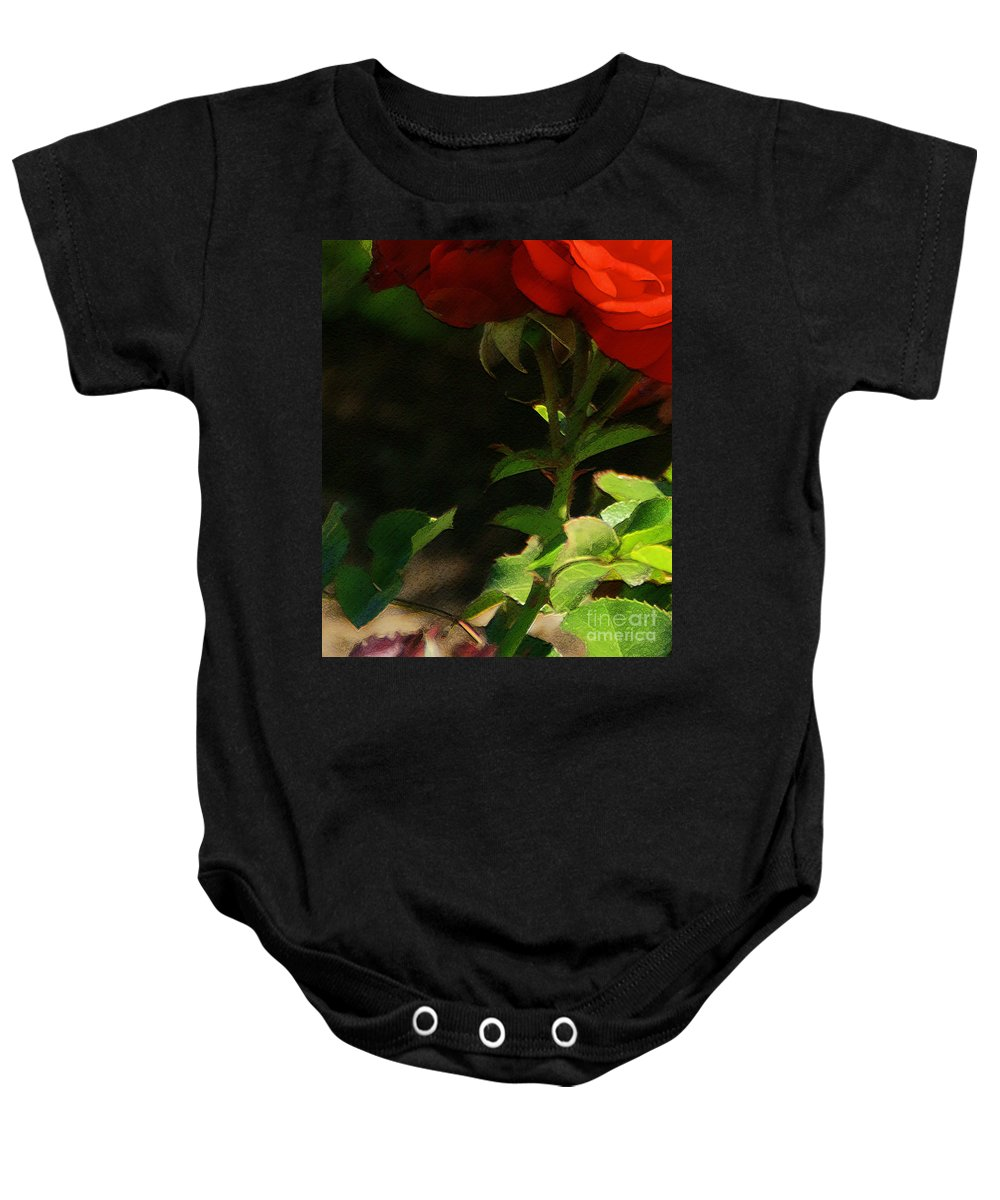 Rose Baby Onesie featuring the photograph Red Rose by Linda Shafer