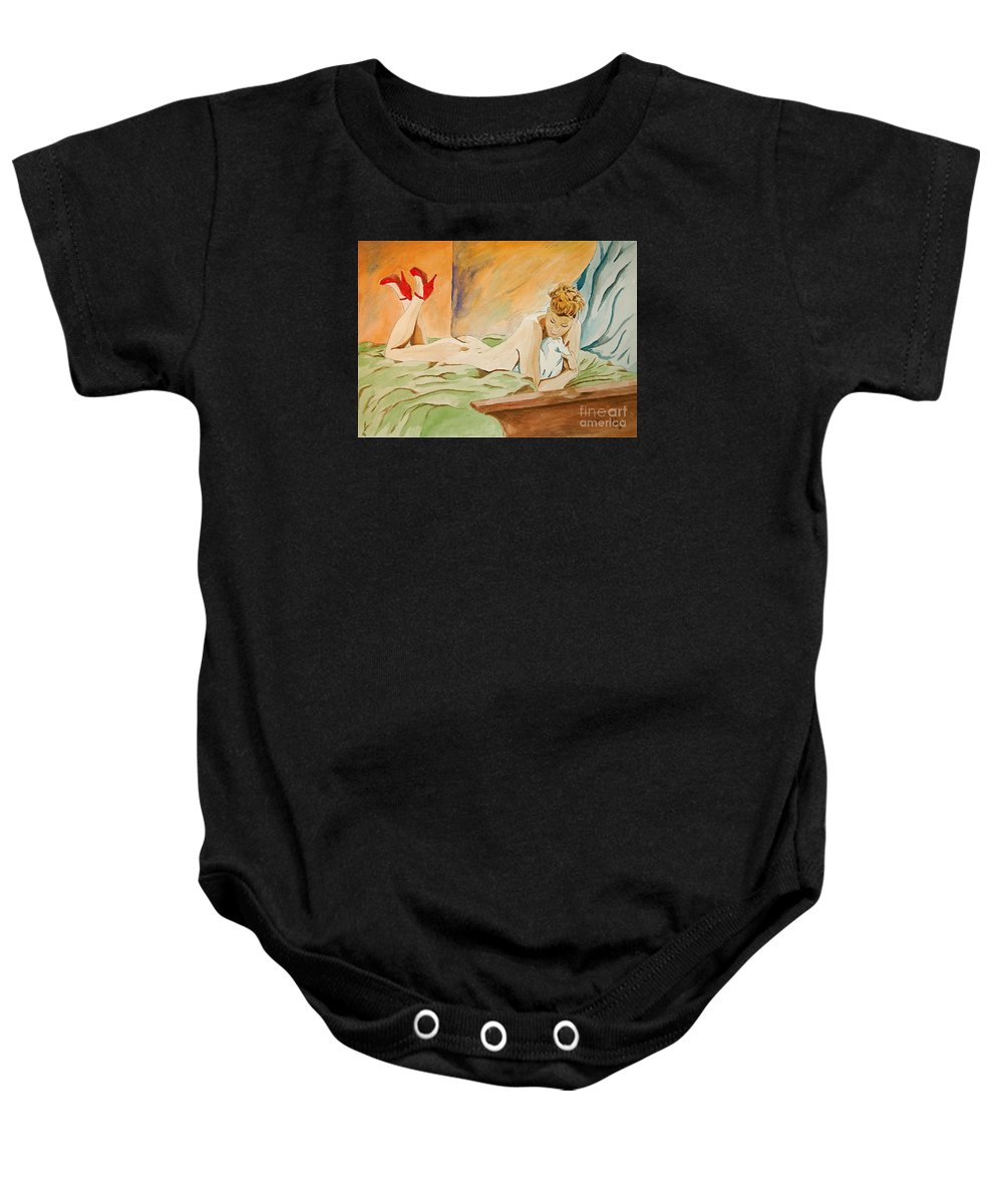 Nude Baby Onesie featuring the painting Red Shoes by Herschel Fall