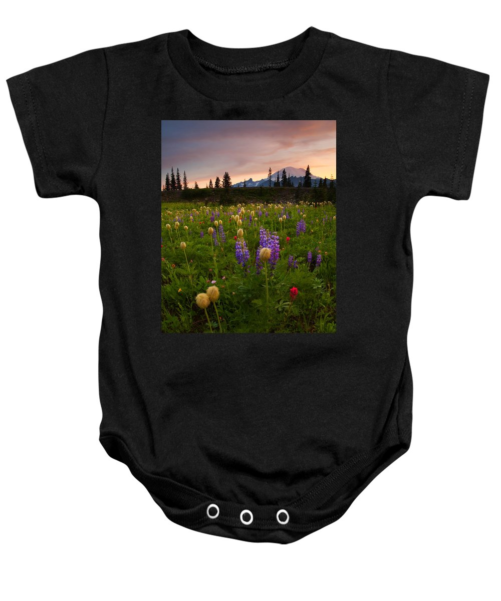 Anenome Baby Onesie featuring the photograph Red Sky Meadow by Mike Dawson