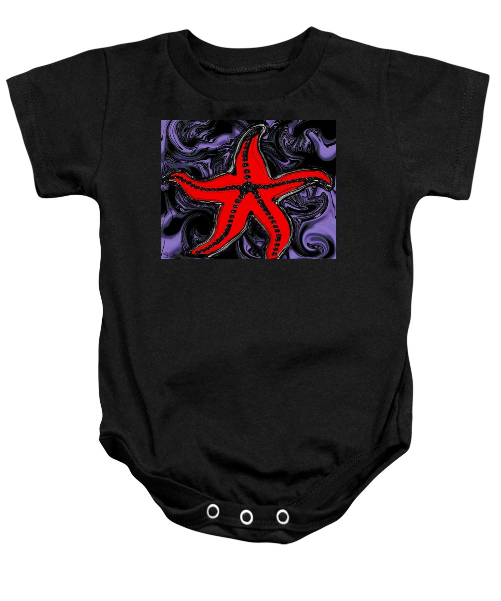 Starfish Baby Onesie featuring the digital art Red Starfish In Stormy Seas by Abstract Angel Artist Stephen K