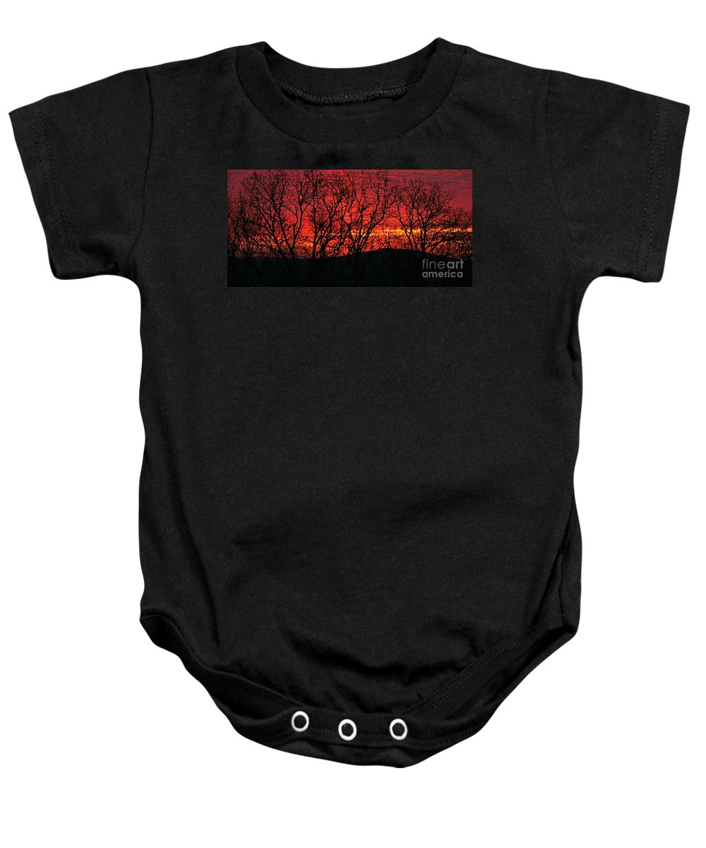 Sunrise Baby Onesie featuring the photograph Red Sunrise Over The Ozarks by Nadine Rippelmeyer