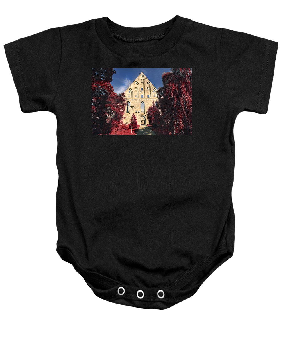 Abbey Baby Onesie featuring the photograph Red Surreal Abbey Ruins by Sandra Rugina