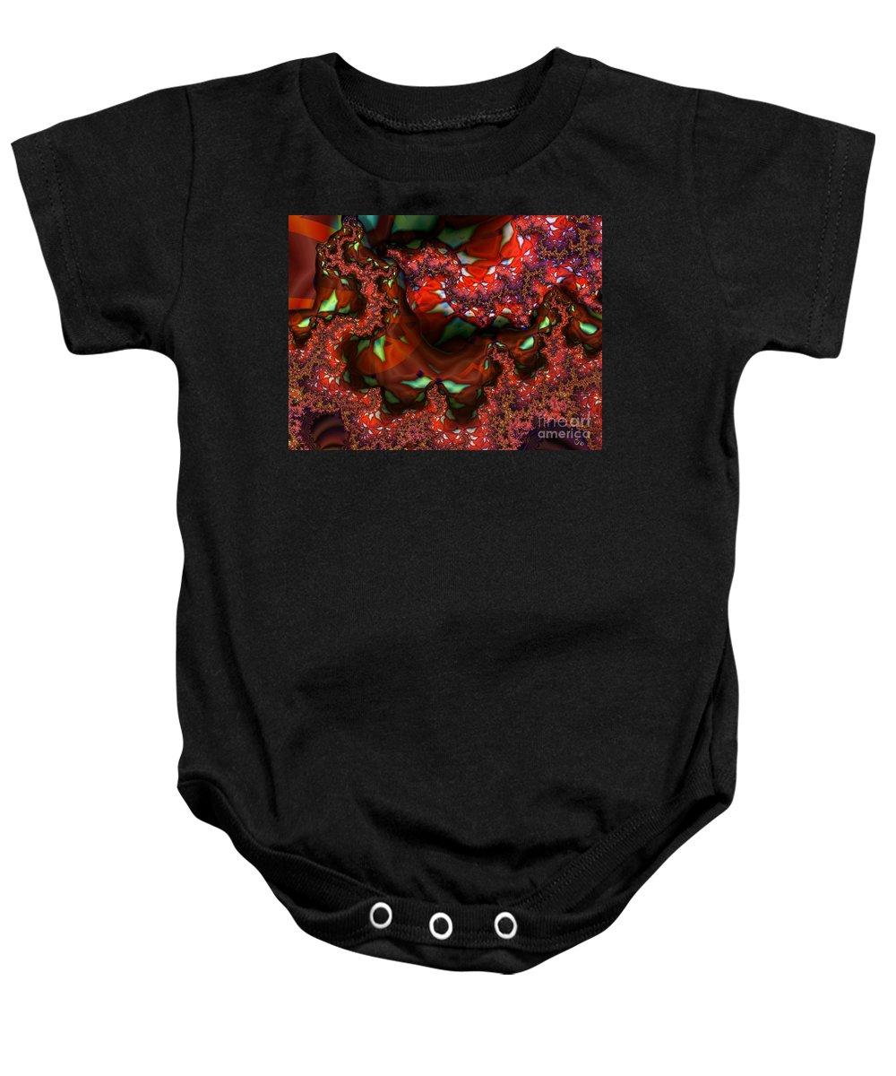 Berry Baby Onesie featuring the digital art Red Thread by Ron Bissett