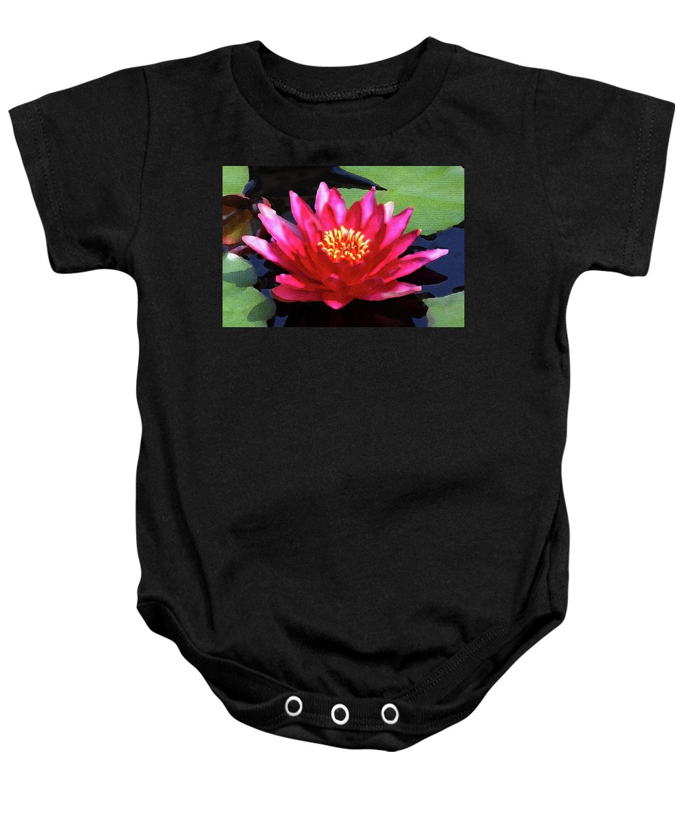 Floral Baby Onesie featuring the photograph Red Water Lily - Palette Knife by Lou Ford