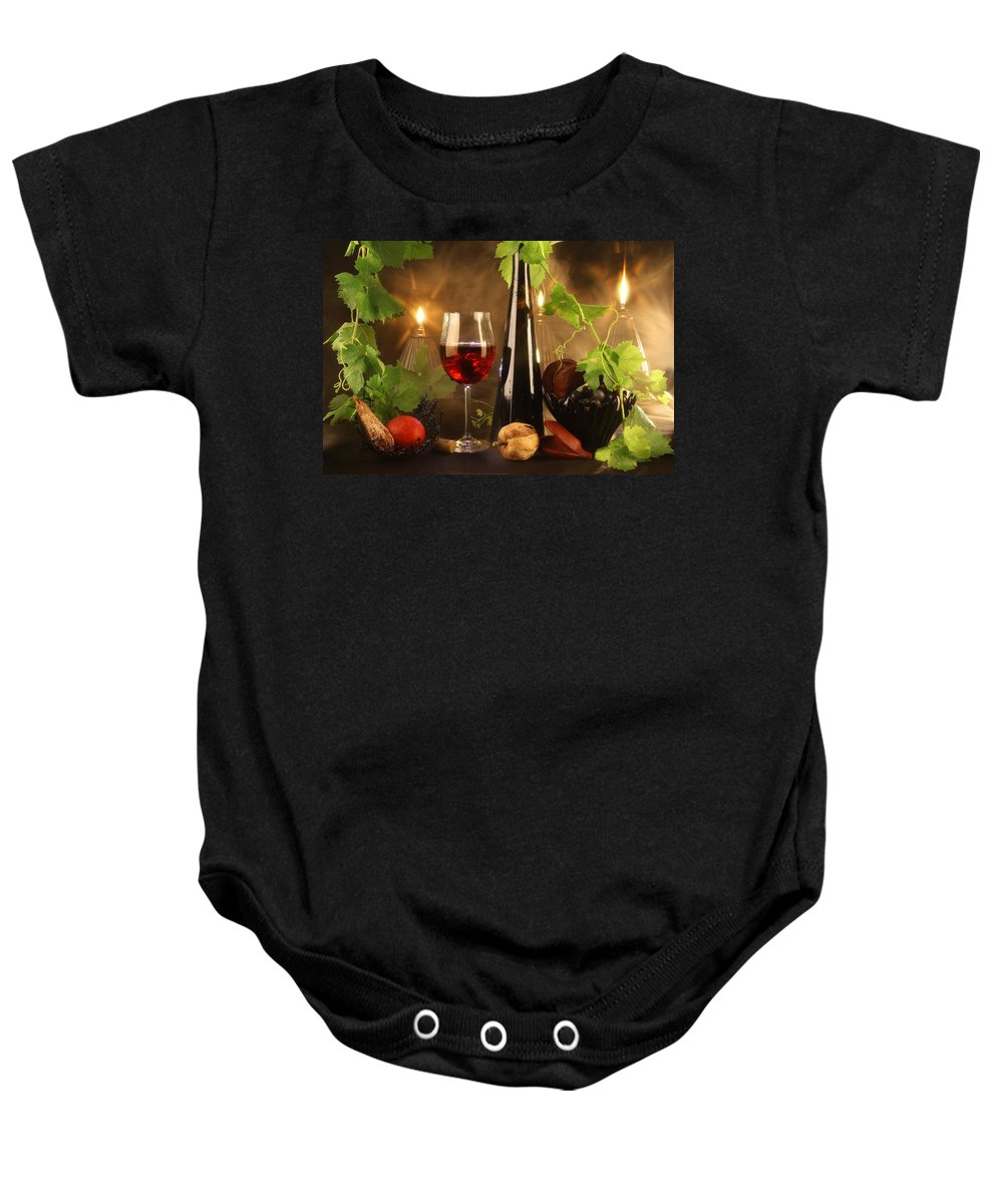 Wine Baby Onesie featuring the photograph Red Wine by Manfred Lutzius
