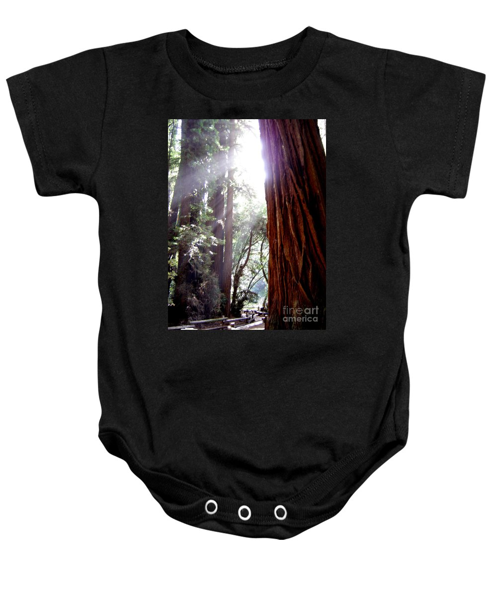 Redwoods Baby Onesie featuring the photograph Redwood Sunlight by Mary Rogers
