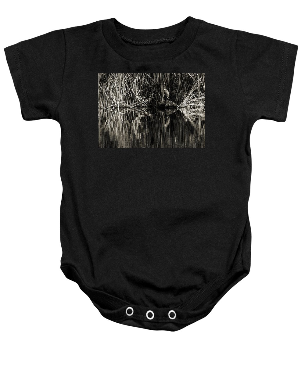 Little Blue Heron Baby Onesie featuring the photograph Reeds And Heron by Steven Sparks