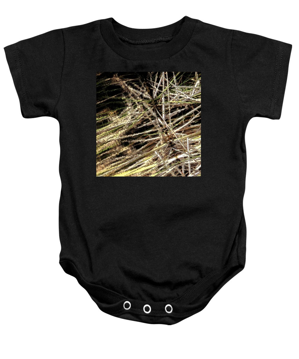 Reeds Baby Onesie featuring the photograph Reeds Reflected by Steven Sparks