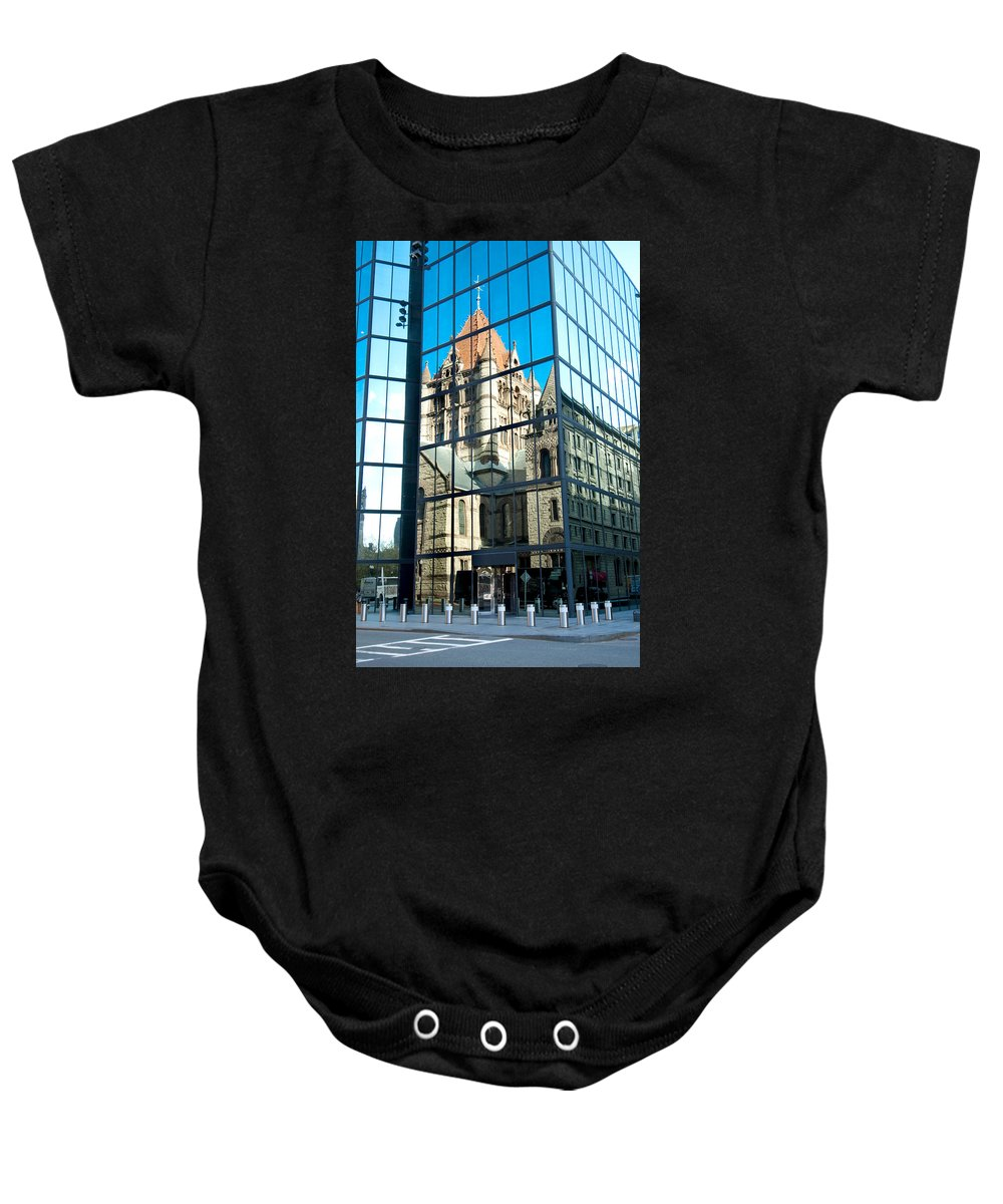 Boston Baby Onesie featuring the photograph Reflecting On Religion by Greg Fortier