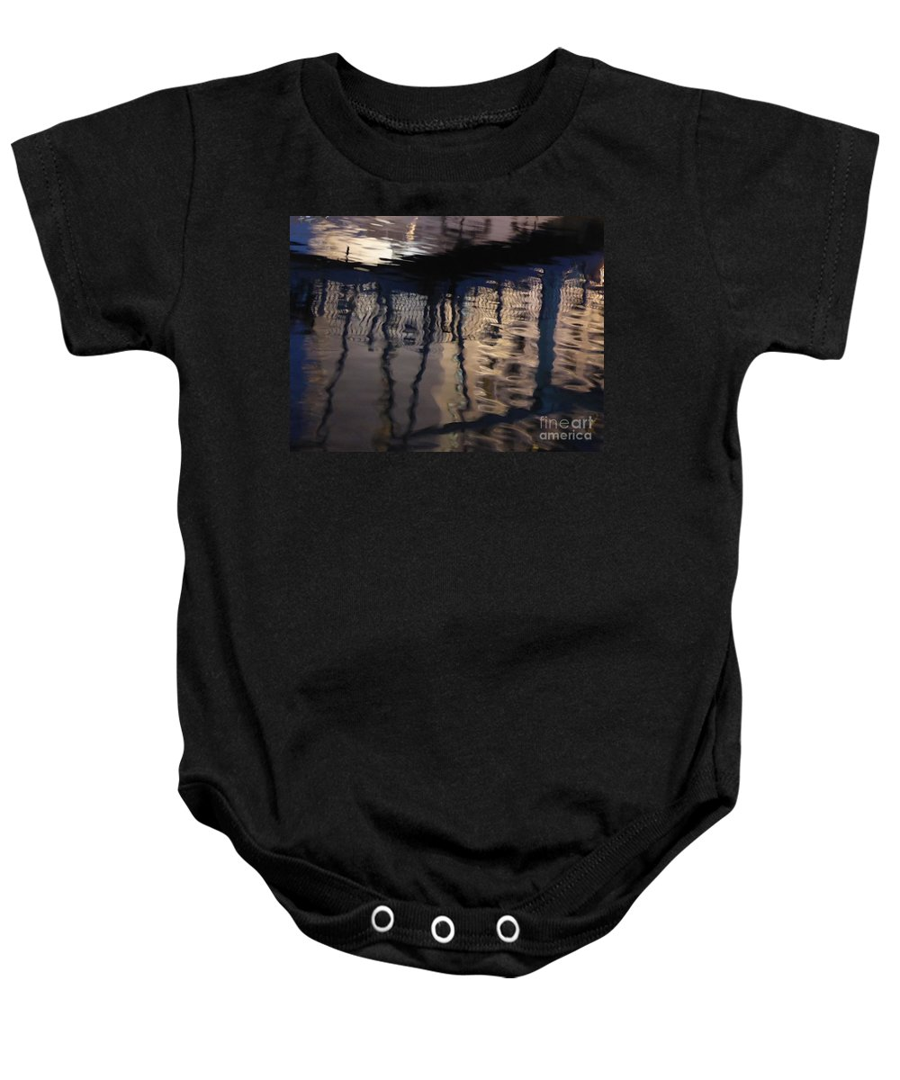 Reflection Baby Onesie featuring the photograph reflection in Eilat marina by Nili Tochner