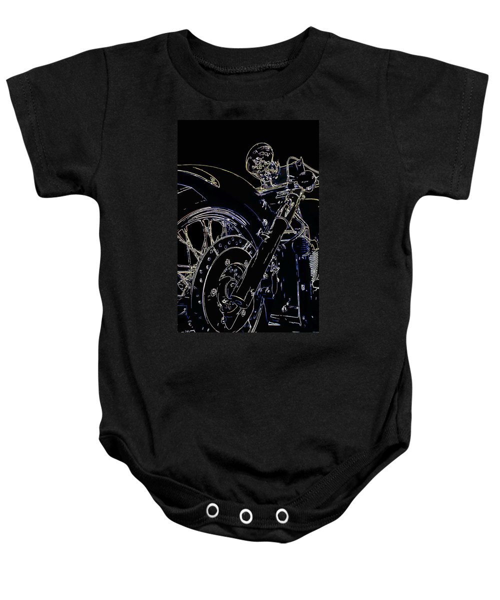 Motorcycle Baby Onesie featuring the digital art Reflections IIi by Ricky Barnard