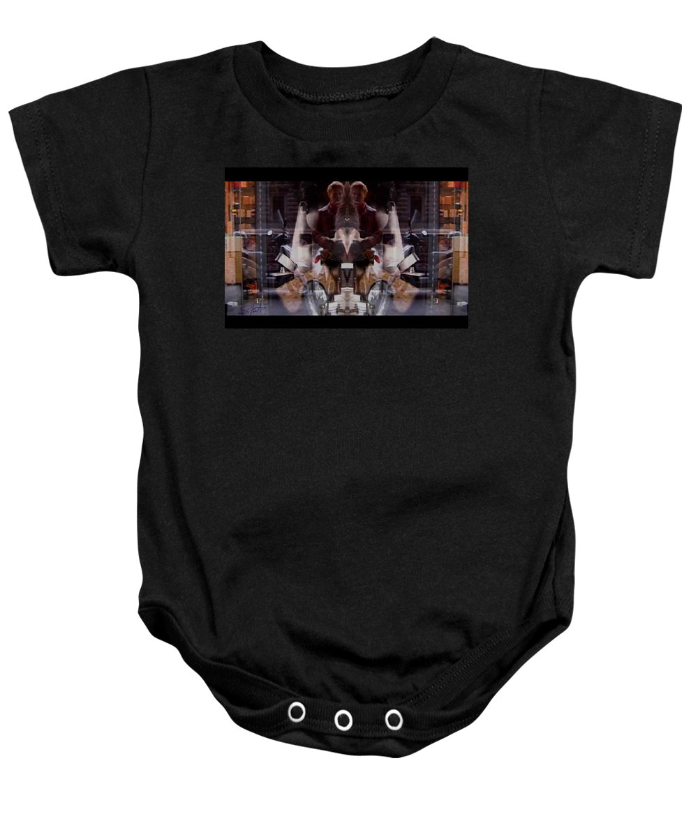 Dream Baby Onesie featuring the photograph Reflections In A Pharmacy Window by Charles Stuart