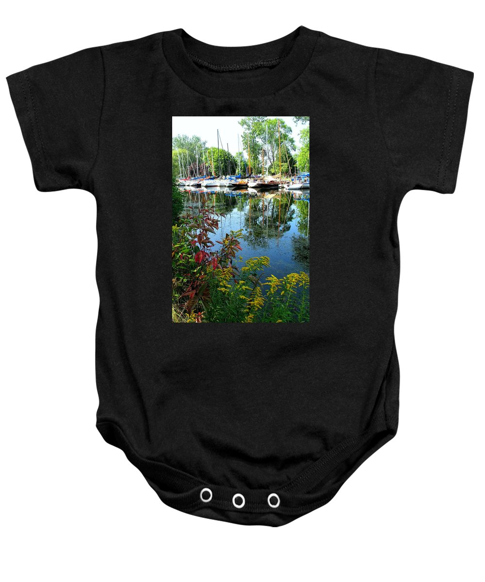 Flowers Baby Onesie featuring the photograph Reflections In The Pool by Ian MacDonald