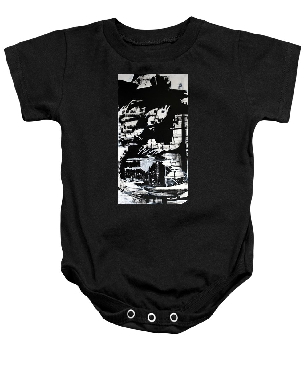 Black And White Baby Onesie featuring the painting Refugees Of Climate Change by Jack Diamond
