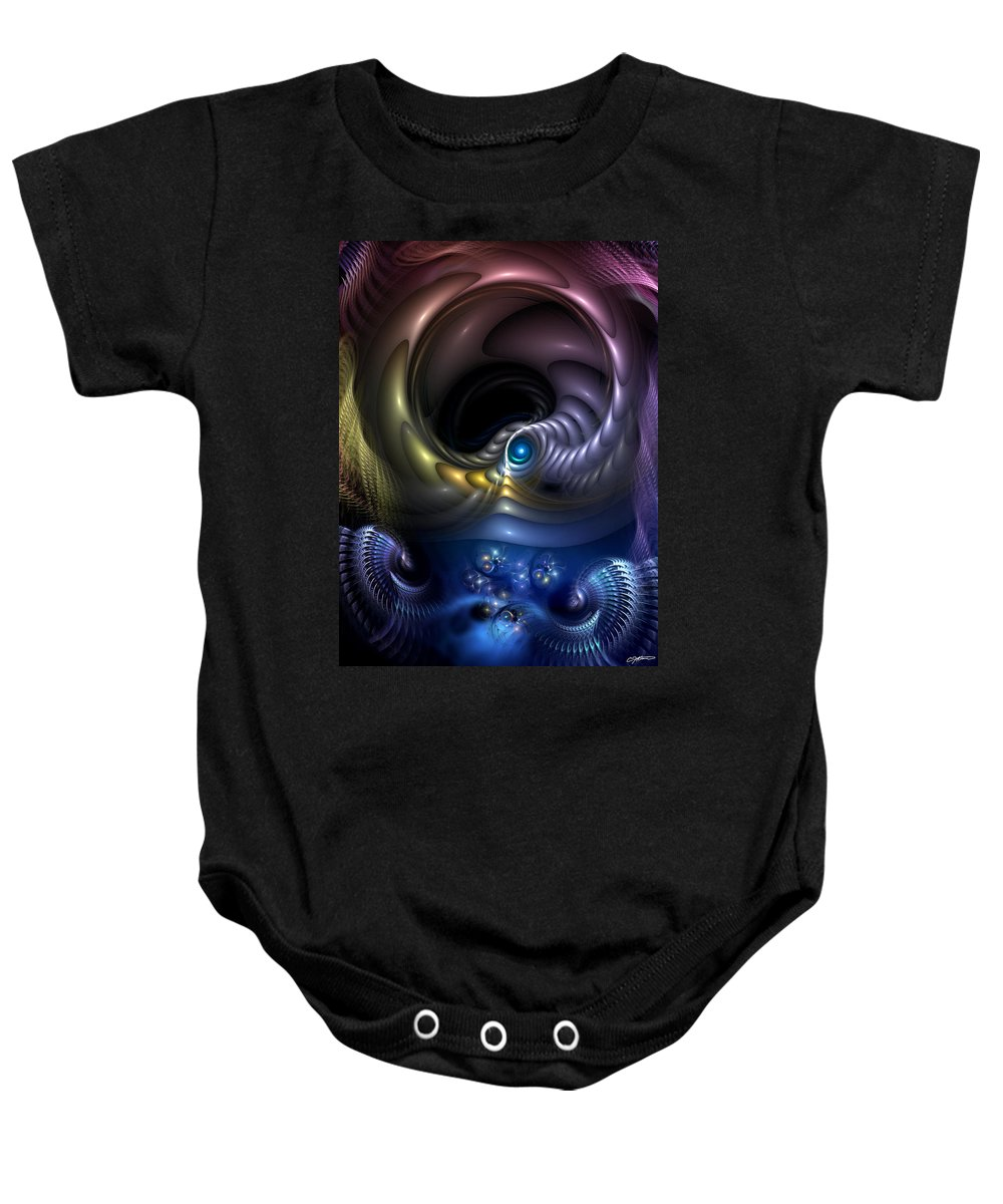 Abstract Baby Onesie featuring the digital art Reincarnation - The Quandary by Casey Kotas