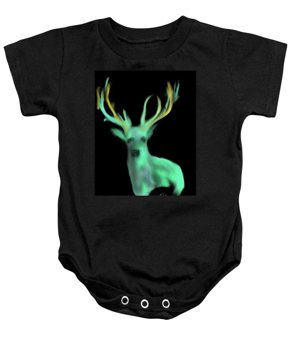 Reindeer Baby Onesie featuring the digital art Reindeer by Chris Lovell