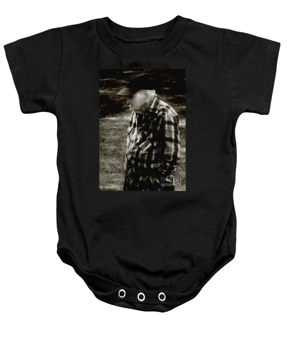 Farmer Baby Onesie featuring the photograph Remembering Hard Times by RC DeWinter